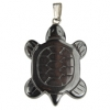 Hematite Turtle 30mm Pendant With Silver Bail